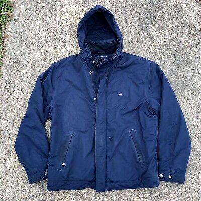 Tommy Hilfiger Mens Puffer Style Coat XL Jacket ~Vintage~ Layered Blue Zip Up!](tommy hilfiger men's nylon hooded puffer bomber jacket)