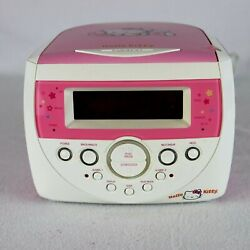 Hello Kitty Radio Pink CD Player Dual Alarm Clock Model KT2053 Sanrio TESTED