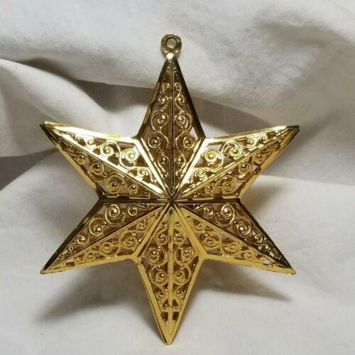 """Metal Gold Tone Filagree Filigree German Star"""" w"""