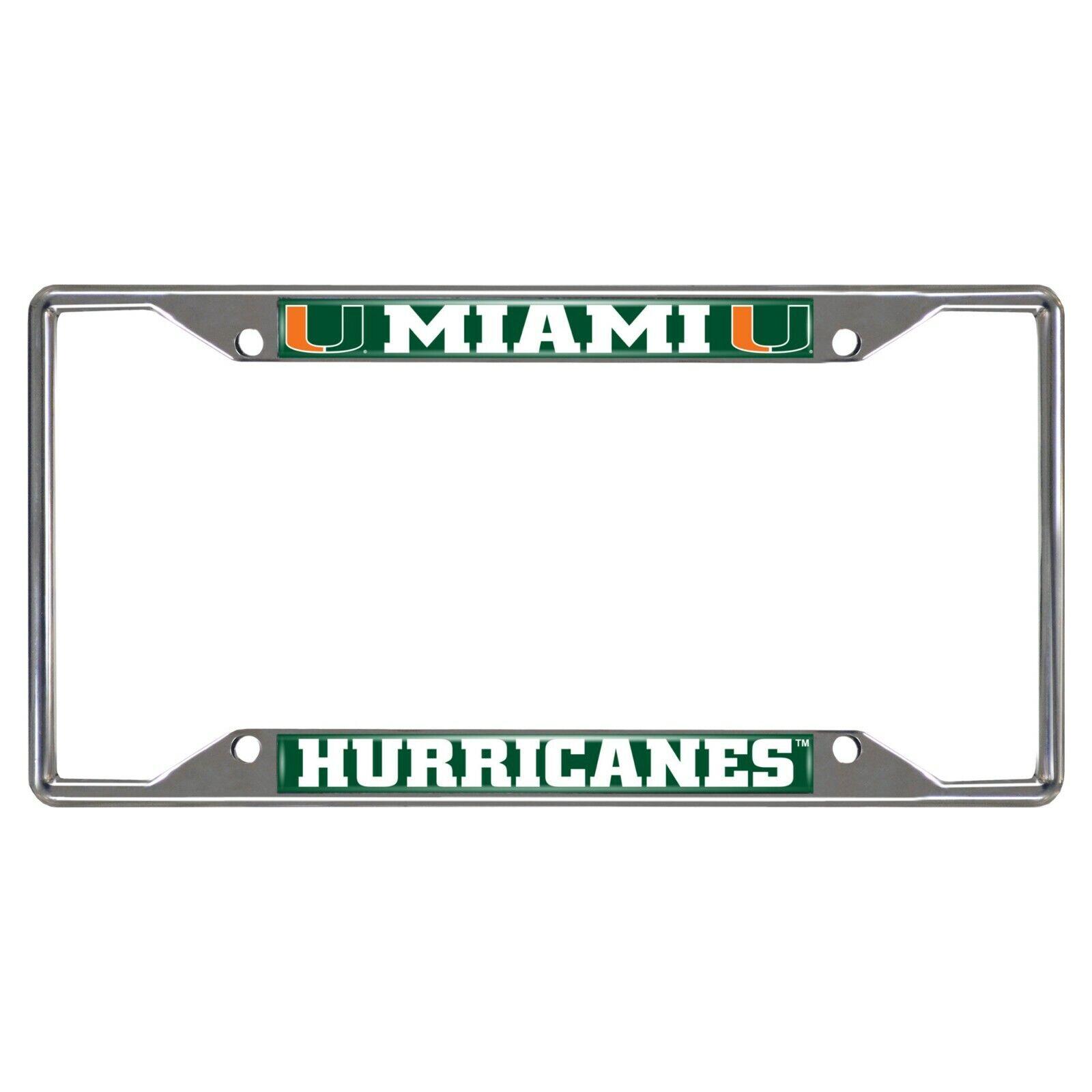 Fanmats NCAA Miami Hurricanes Metal Chrome License Plate Fra