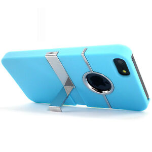 Deluxe-Light-Blue-Hard-Case-Cover-With-Chrome-Stand-for-Apple-iPhone-5-5S-NEW