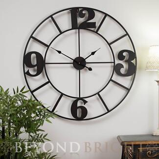 X Large 80cm Metal LOLA Wrought Iron Wall Clock Vintage French Prestons Liverpool Area Preview