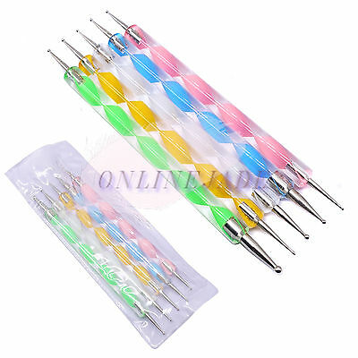 Set 2 Way Nail Art DIY Design Dotting Drawing Painting Liner Dot Pen Tools US