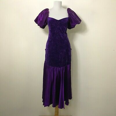 80s Dresses | Casual to Party Dresses Vintage 1980s Prom Dress Size M Purple Puffed Sleeves Hourglass Discoloration $30.00 AT vintagedancer.com