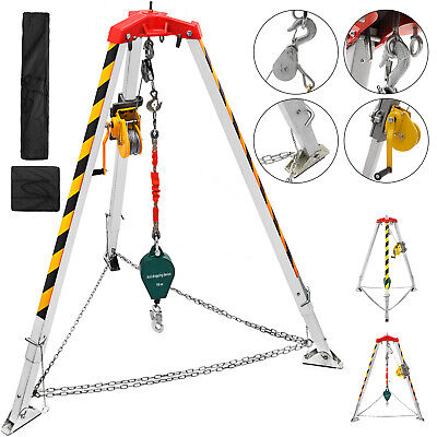 Confined Space Safty Tripod Kit Well Winch Rescue Tripod 4-7ft Legs Portable