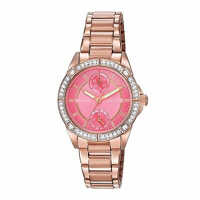 Citizen Eco-Drive Women's FD3003-58X Swarovski Crystal Accents Pink Dial Watch