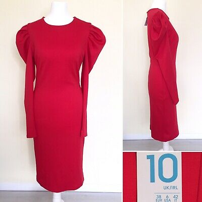 Primark Dress UK 10 Red Puffy Long Sleeve Bodycon Stretch Midi Christmas NEW NWT