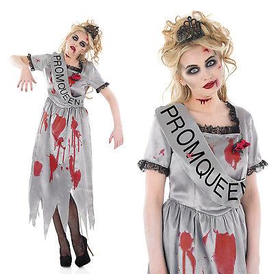 Ladies Zombie Prom Queen Fancy Dress Costume Halloween Party Outfit UK 8-30 - Prom Queen Halloween Costume Uk