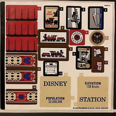 New LEGO Sticker Sheet Only - From Set 71044 Disney Train and Station