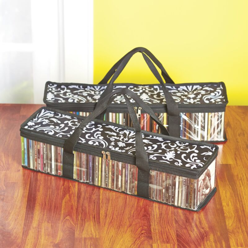Damask CD Case Storage Bags with Zipper Closure - Set of 2