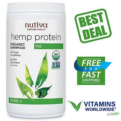 NUTIVA HEMP PROTEIN ORGANIC 15 g Powder Plant Superfood Non GMO Supplement 16 Oz ()