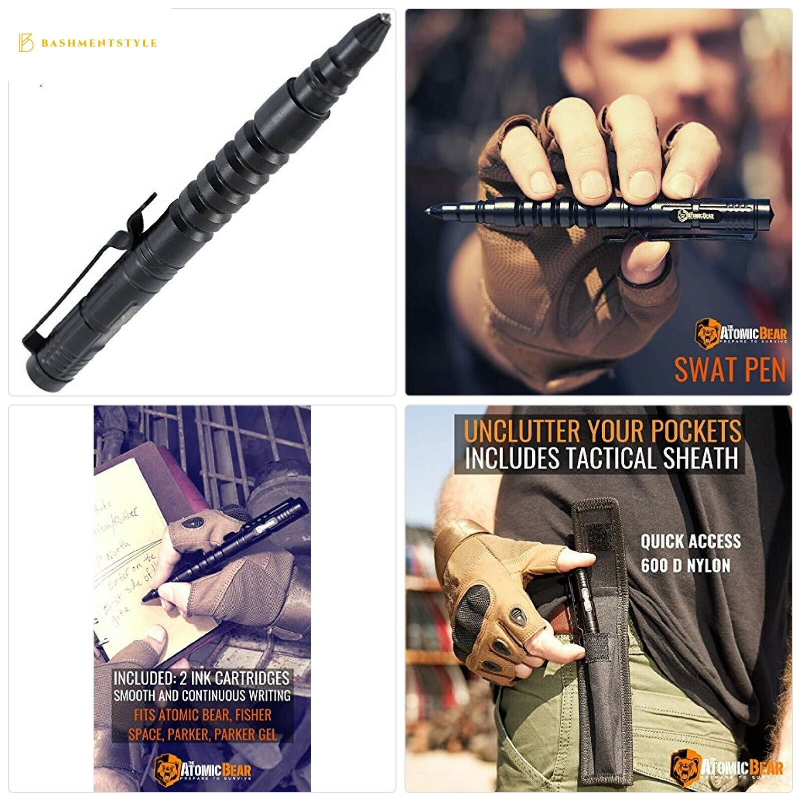 The Atomic Bear Tactical Pen - Self Defense Pen and Window B