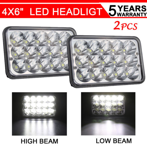 "2pcs 4x6""inch 45W Rectangle Led Headlight High Low Seal Beam Bulbs Crystal Clear"