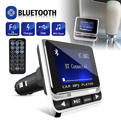 Wireless Car Bluetooth FM Transmitter Aux USB Charger Hands-Free Call 1.4 inch