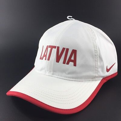 0f021729717 NIKE Latvia Dri FIT Featherlight Running White Hat Strapback Aerobill NEW  A5A