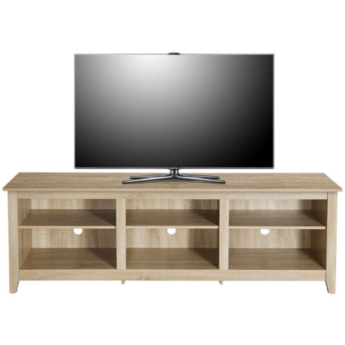 Classic TV Stand for TVs up to 80 Inches, 70 Inch 6 Cubby Storage Compartment Furniture