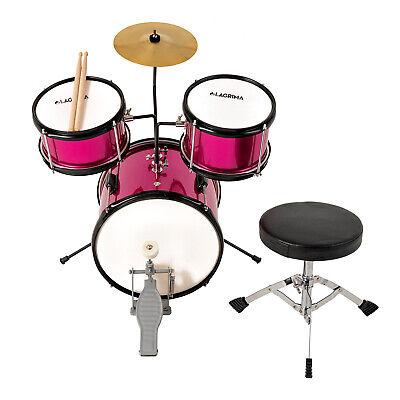"3 Piece 12"" Complete Junior Drum Set Cymbal Kids Kit w/ Stool Pedal Sticks  Pink"