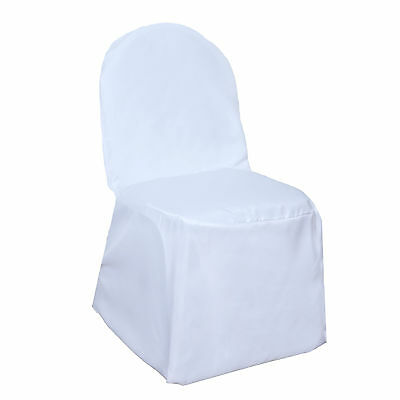 50 White POLYESTER BANQUET CHAIR COVERS Wholesale Wedding Party Decorations