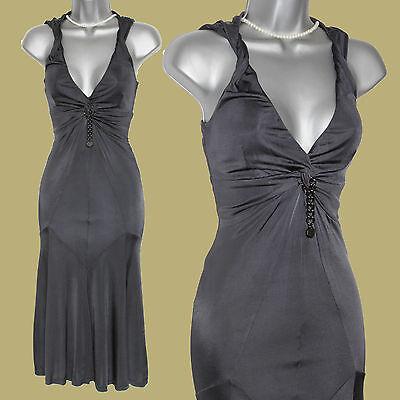 Karen Millen Dark Grey Jersey Low Open Neck Front Detail Flattering Dress UK 10