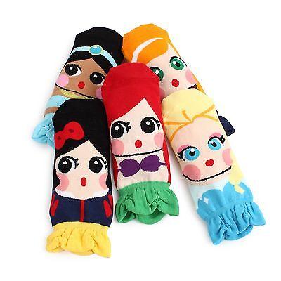 (5Pairs) Princess Dress Socks Women Kids Fairy tale Mermaid Elsa Anna Jasmine ED