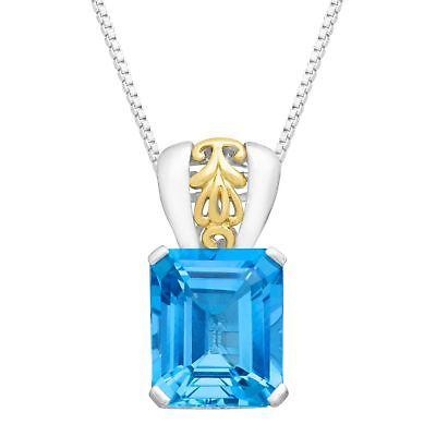 7 3/8 ct Baby Natural Swiss Blue Topaz Pendant in Sterling Silver & 10K -