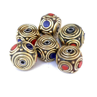 Coral Lapis Brass 6 Beads Tibetan Nepalese Handmade Tibet Nepal AC1775
