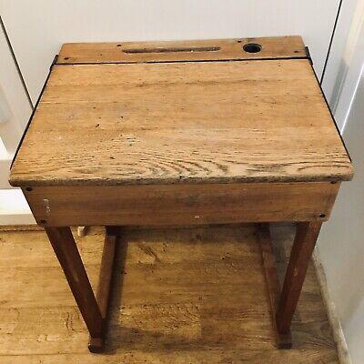 Vintage Retro Brown Wooden School Desk - Flips Open, With Inkwell