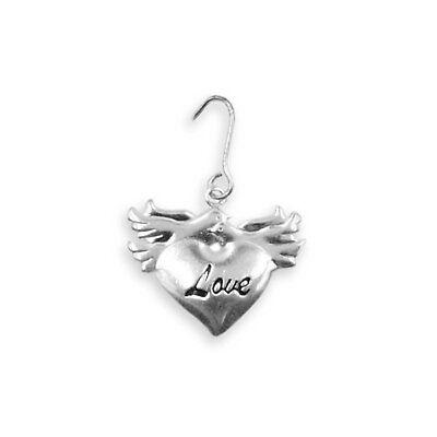 Love Birds Wedding Favor (20 Metal Love Birds Dove Heart Love Wedding Favor Silver Charms Gift Tags )