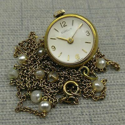 Vintage Gubelin Watch ~ Pendant Ball Watch Necklace ~ Glass Back 17J Swiss Made