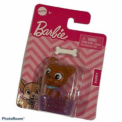NEW Mattel Barbie Brown Puppy With Purple Basket & Dog Bone Accessories Pet