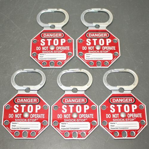 (5) Brady Shock-Stop Lockout Hasp 87693, 6 Lock, Scissor Action, Steel, Red LOTO