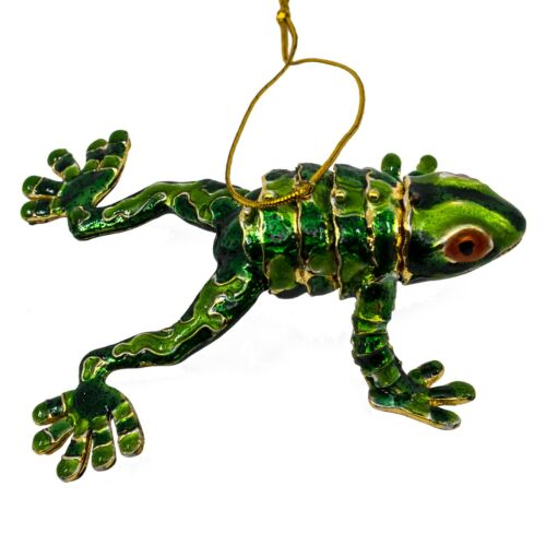 "Cloisonne Enameled Metal Articulated Bendable Frog Ornament 3.75"" Long New!"