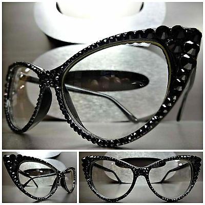 VINTAGE 60's CAT EYE Style Clear Lens EYE GLASSES FRAMES Black Crystals (Women's Glass Frames Styles)