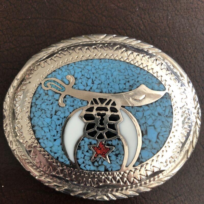 Vintage Turquoise Free Mason Belt Buckle 1984