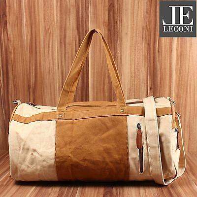 LECONI Weekender Reisetasche Handgepäck Sporttasche Canvas Leder beige LE2015-C