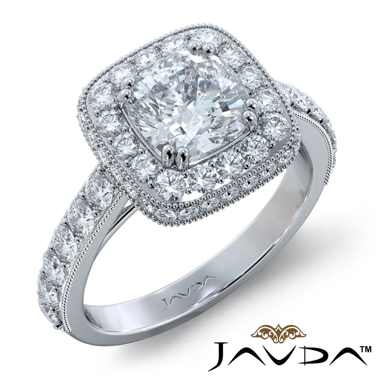 2ctw Milgrain Halo Floral Basket Cushion Diamond Engagement Ring GIA H-VS2 Gold