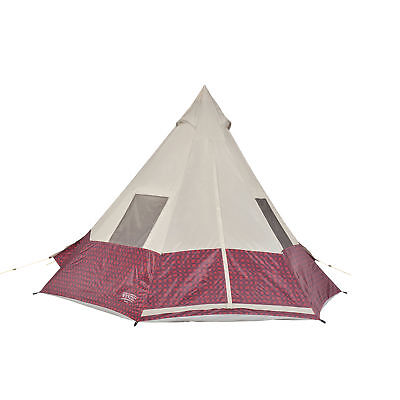 Teepee Tent (Wenzel 11.5 x 10 Shenanigan Large 5 Person Trail Camping Teepee Tent, Red Plaid )