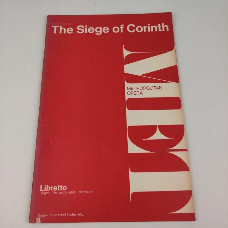 Vintage 1974 MET Metropolitan Opera Libretto Seige of Corinth, Rossini