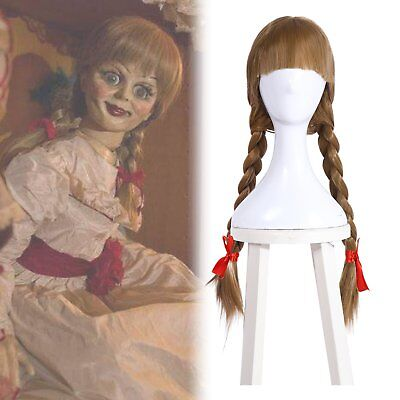 The Conjuring Annabelle Doll Cosplay Wig 2 Braided Brown Long Hair Halloween - Brown Halloween Wig