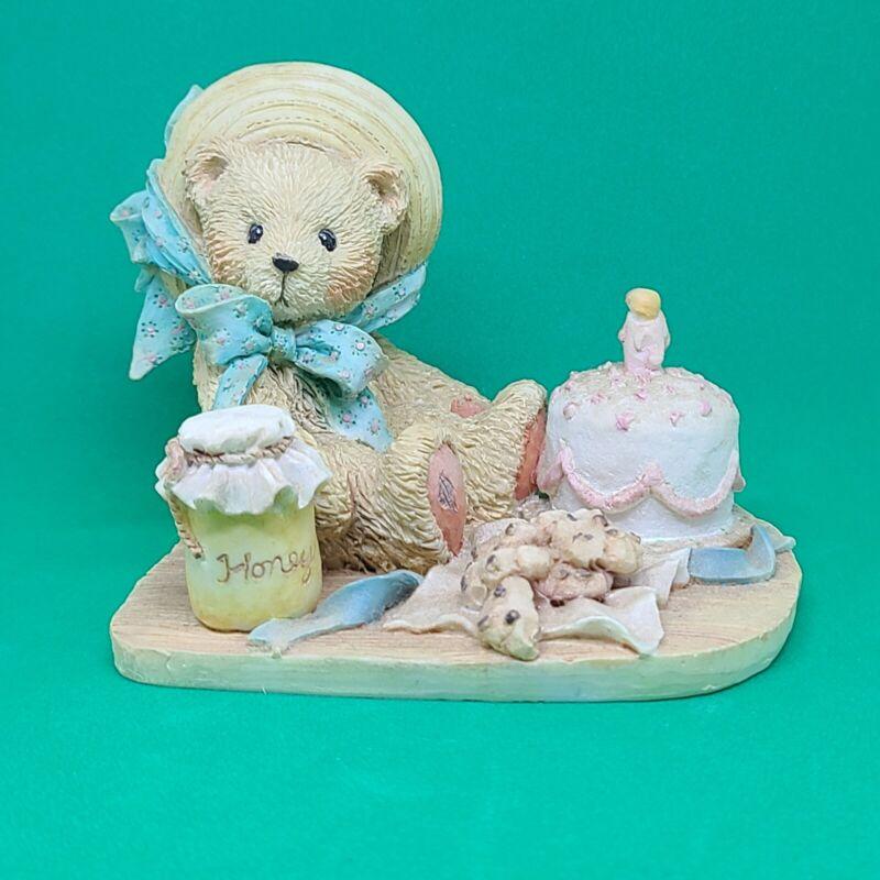 "1991 Cherished Teddies Anna ""Hooray For You"" Birthday Figurine"