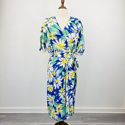 80s Dresses | Casual to Party Dresses Vintage Stitches Womens Wrap Dress Floral Daisy Rayon Short Sleeve Size 12 - 14 $34.75 AT vintagedancer.com