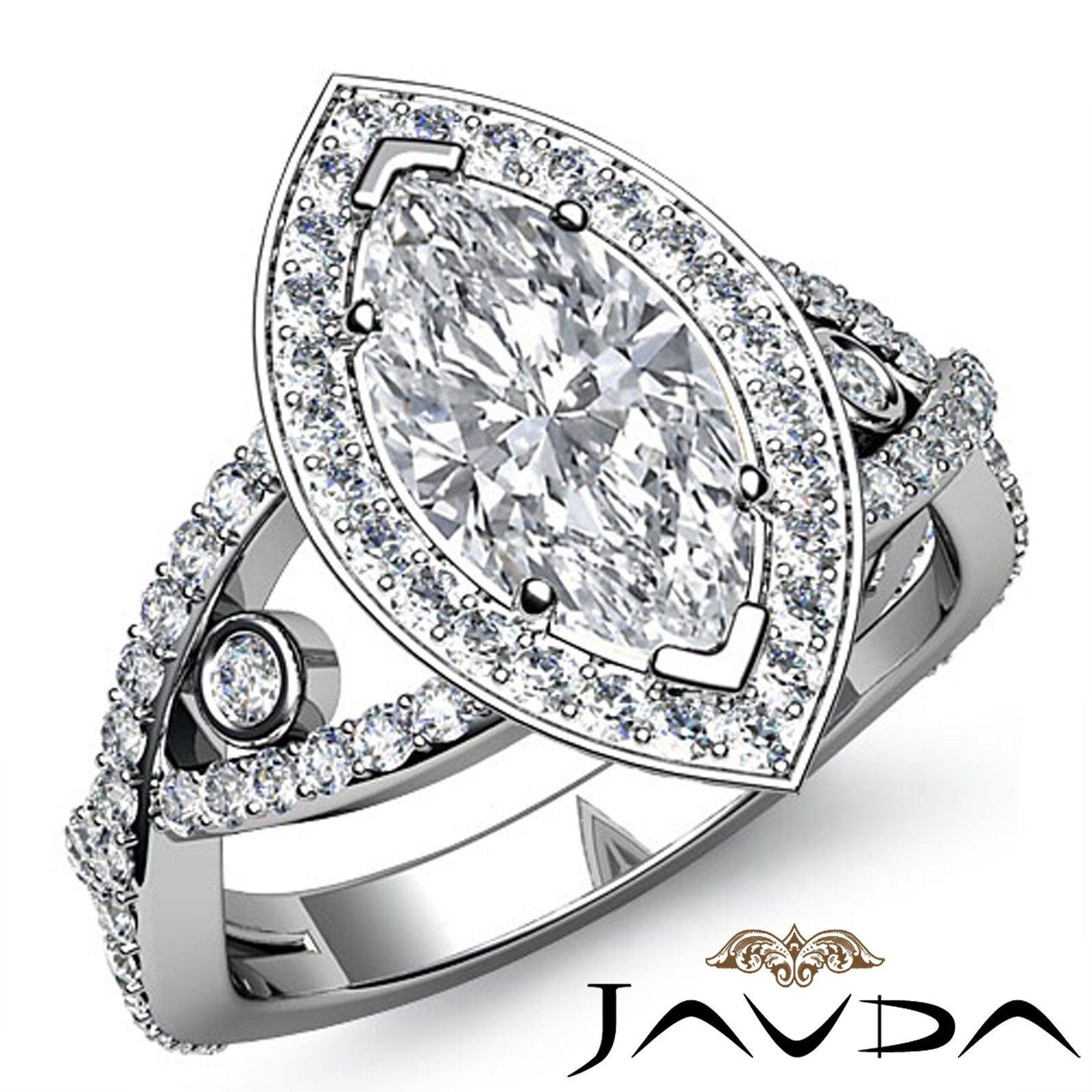 2.66ctw Cross Shank Circa Halo Marquise Diamond Engagement Ring GIA J-VS2 W Gold