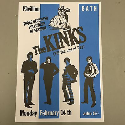 KINKS - CONCERT POSTER BATH PAVILLION MONDAY 14th FEBRUARY (A3 SIZE)