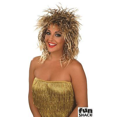 80s Rocker Chick (Rock Chick Wig Punk Rocker 80's Diva Tina Turner Womens Fancy Dress Costume)
