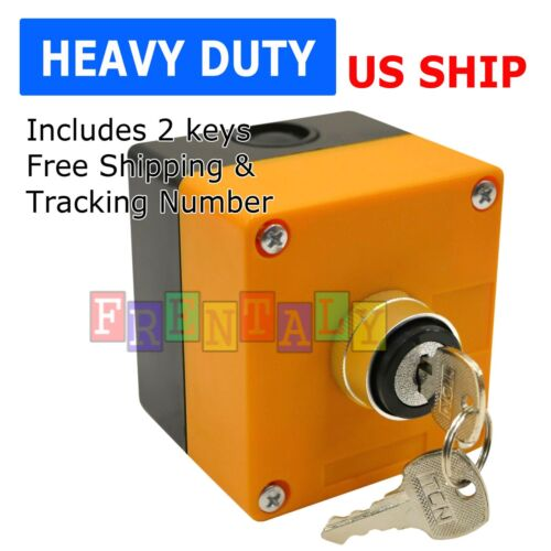 """Boxed Cased Heavy Duty On/Off Key Switch 22mm 7/8"""" with 1-Hole Switch Box 2 Key"""