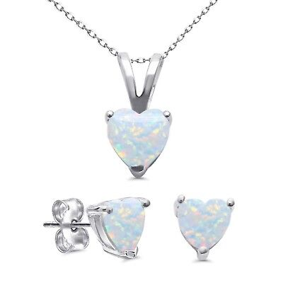 White Fire Opal Heart Cut Stud Cast Earring Pendant Necklace Sterling Silver Set