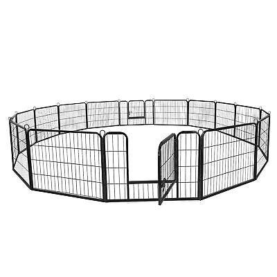 "24"" Dog Kennel Crate Pet Enclosure Exercise Pen Fence EZ Setup Multiple Shape"