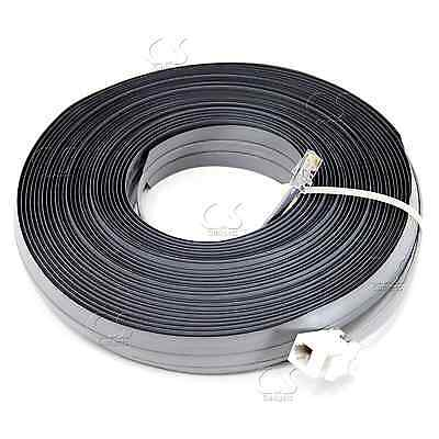 Undercarpet Cat5e RJ11 Phone DSL Data Flat Cable 50 ft 6P4C M- F Key Jack Ext
