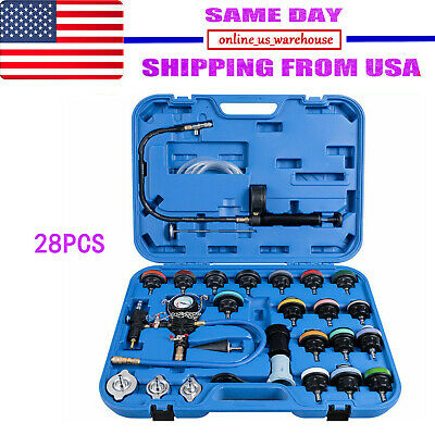 28PC ADAPTERS RADIATOR PRESSURE TESTER TEST KIT COOLANT VACUUM PURGE REFILL