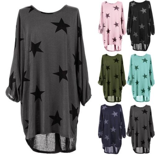 Damen Stern Minikleid Freizeit Tunika Longshirt Blusen Oberteil Tops Hemdkleider